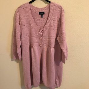 Sonoma Cardigan half button front long Pink Sz XL